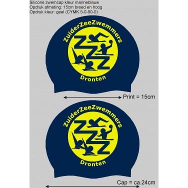1 drukkleur (geel) op een blauwe cap